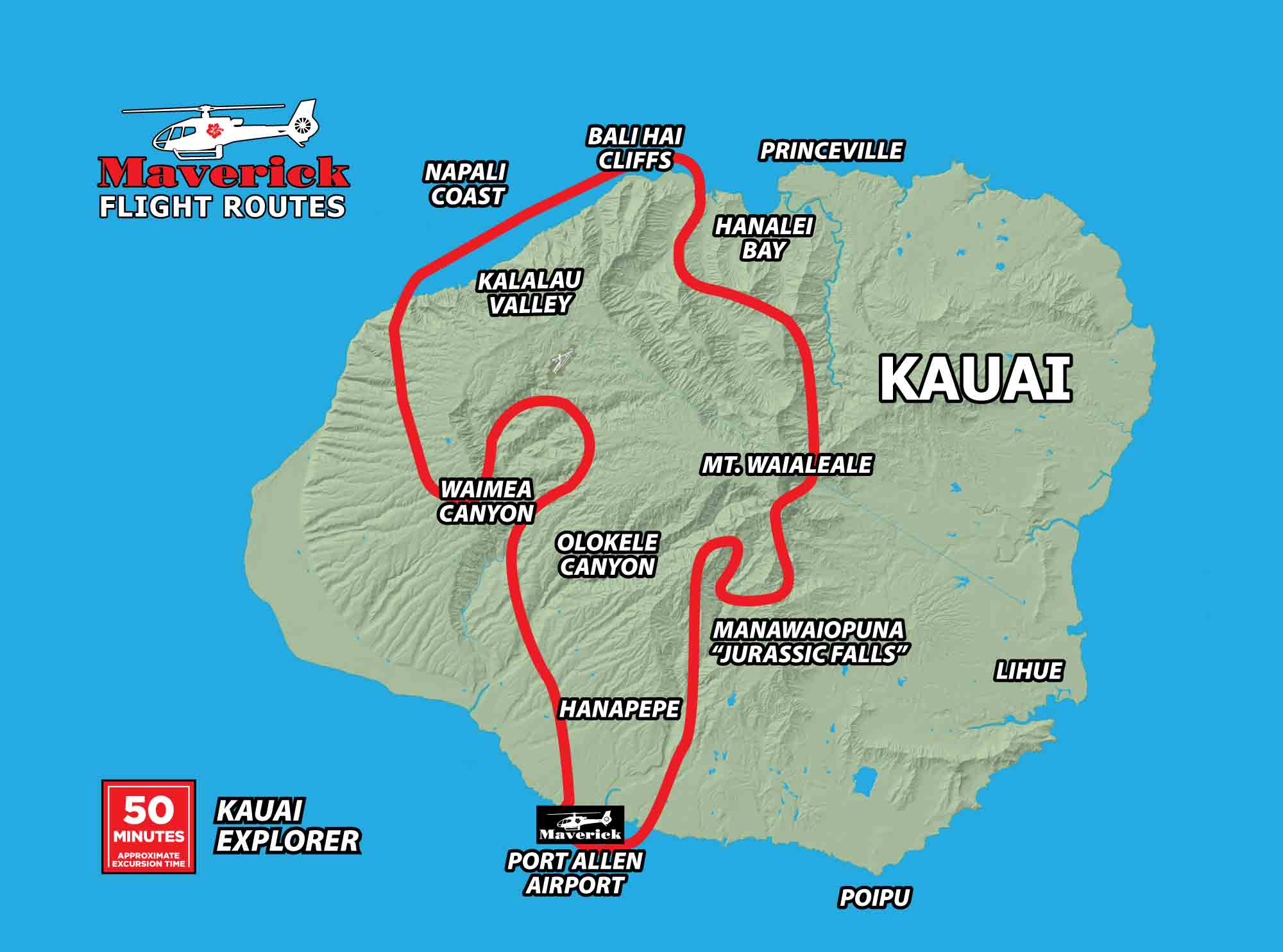 Kauai Explorer tour flight map